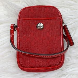 Coach Red Signature Wrislet Change Purse Clutch